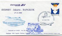 ENVELOPPE CONCORDE FIRST WORLD SUPERSONIC TOUR CONCORDE VOL SYDNEY - JAKARTA - BANGKOK  DU 27-11-1986 - Concorde