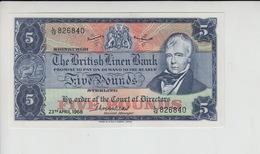 AB482. The British Linen Bank £5 Banknote 23rd April 1968 #L/12 826840 FREE UK P+P - Ecosse