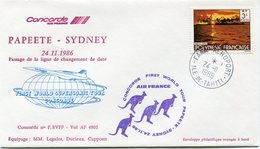 ENVELOPPE CONCORDE FIRST WORLD SUPERSONIC TOUR CONCORDE VOL PAPEETE - SYDNEY  DU 24-11-1986 - Concorde