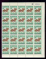 Afghanistan 600 Olympics Djakarta Horse Racing Full Sheet Of 50 Has Been Folded MNH 1962 A04s - Afghanistan