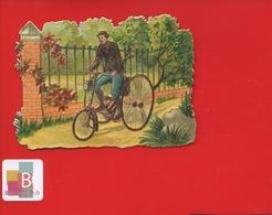 Joli Chromo Découpis Cyclisme VELO Bicyclette Homme Tricycle Lanterne - Chromos