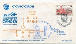 ENVELOPPE CONCORDE VOL SPECIAL  NICE - PARIS DU 13-6 1987 - Concorde