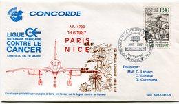 ENVELOPPE CONCORDE VOL SPECIAL PARIS - NICE DU 13-6 1987 - Concorde