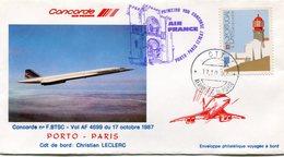 ENVELOPPE CONCORDE PREMIER VOL PORTO - PARIS DU 17 OCTOBRE 1987 - Concorde