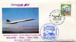 ENVELOPPE CONCORDE PREMIER VOL BOLOGNE - PARIS - NEW YORK DU 4 OCTOBRE 1987 - Concorde
