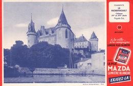 Ancien BUVARD Illustré MAZDA , Chateau LA ROCHEFOUCAULT - Buvards, Protège-cahiers Illustrés