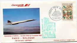 ENVELOPPE CONCORDE PREMIER VOL PARIS - BOLOGNE DU 4 OCTOBRE 1987 - Concorde
