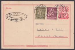 """P 142, Bedarf """"Landshut"""", 2.8.22, Pass. Zusatzfrankatur - Deutschland"""