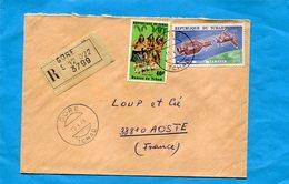 Marcophilie-lettre REC-TCHAD-pour Françe-cad-gore -1977-2 StampN°241-sara  Kaba+A157 Space Usa Urss - Chad (1960-...)