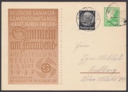 """P 245 """"KdF"""", 1937, Bedarfs-Fernkarte Mit Pass. Zusatzfrankatur - Deutschland"""