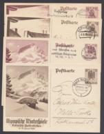 """P 257/60 """"Olympiade 1936"""", 4 Versch. Karten Mit Ortsstempel - Germany"""