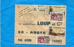 Marcophilie-lettre REC-TCHAD-pour Françe-cad-MARO -1977-4 StampN°a185-jb Jonchind -tableau+flowers - Chad (1960-...)