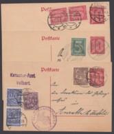 DP 4, 3 Karten, Versch. Zusatzfrankaturen, Versch. Portoperioden - Deutschland
