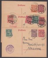 DP 4, 3 Karten Mit Versch. Zusatzfrankaturen, Versch. Portoperioden - Ganzsachen