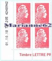 France 2018 Coin Daté X4TP Marianne L'engagée Tarif PRIO - 01-10-18 TD 205 4248942 - Coins Datés