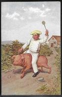 REPRODUCTION ANIMAUX - Illustration, Charcutier Enfourchant Un Cochon - Cochons