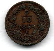 Autriche  -  5/10 Kreuzer 1859 V  -  Km # 2182  -  état  TTB - Austria
