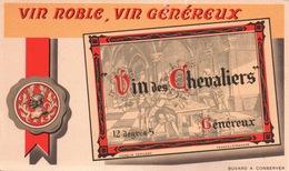Ancien BUVARD Illustré VIN Des CHEVALIERS Vin Généreux - Buvards, Protège-cahiers Illustrés