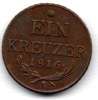 Autriche  -  1 Kreuzer 1816 A  -  Km # 2113  -  état  TTB - Austria