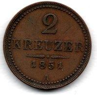 Autriche  -  2 Kreuzer 1851 A  -  Km # 2189  -  état  TTB - Austria