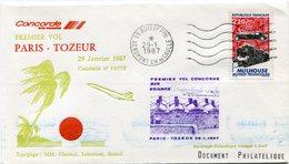 ENVELOPPE CONCORDE PREMIER VOL PARIS - TOZEUR DU 29 JANVIER 1987 - Concorde