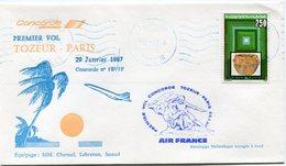ENVELOPPE CONCORDE PREMIER VOL TOZEUR - PARIS DU 29 JANVIER 1987 - Concorde