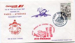 ENVELOPPE CONCORDE PREMIER VOL PARIS - ATHENES DU 12 JUIN 1987 - Concorde