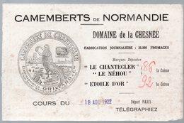 Buvard CAMEMBERTS DE NORMANDIE Domaine LA CHESNEE Le Chantecler (PPP10505) - Alimentaire