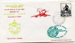 ENVELOPPE CONCORDE PREMIER VOL ATHENES - PARIS DU 12 JUIN 1987 - Concorde