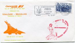 ENVELOPPE CONCORDE PREMIER VOL TOULOUSE - BRUXELLES DU 14 MAI 1987 - Concorde