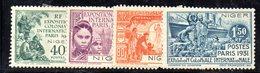 APR36 - NIGER 1931 , La Serie Completa Yvert N.53/56 Linguellata * .   (2380A) . Expo Paris - Niger (1921-1944)