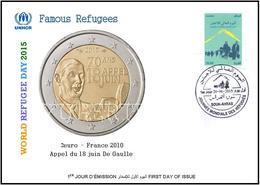 ARGHELIA 2015 - FDC - World Refugee Day Réfugiés Weltflüchtlingstag De Gaulle Día Mundial Del Refugiado Coins - Refugees