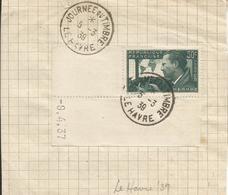 1937 - N° 337 Coin De Feuille Daté Oblitéré (o) : JOURNEE DU TIMBRE LE HAVRE 1939 - France