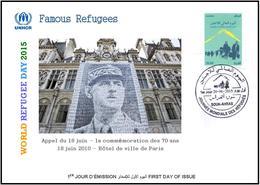 ARGHELIA 2015 - FDC - World Refugee Day Réfugiés Weltflüchtlingstag De Gaulle Día Mundial Del Refugiado Paris - Refugees