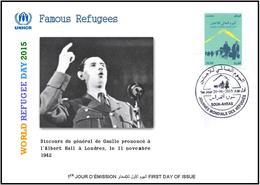 ARGHELIA 2015 - FDC - World Refugee Day Réfugiés Weltflüchtlingstag De Gaulle Día Mundial Del Refugiado London - Refugees