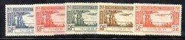 APR38 - NIGER 1931 , Posta Aerea La Serie Completa Yvert N.1/5 Linguellata * .   (2380A) . - Niger (1921-1944)