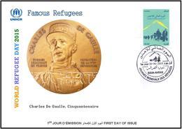 ARGHELIA 2015 - FDC - World Refugee Day Réfugiés Weltflüchtlingstag De Gaulle Día Mundial Del Refugiado Medals - Refugees