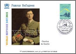 ARGHELIA 2015 - FDC - World Refugee Day Réfugiés Weltflüchtlingstag De Gaulle Día Mundial Del Refugiado - Refugees