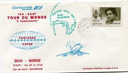 "ENVELOPPE CONCORDE TOUR DU MONDE "" 5 CONTINENTS "" VOL DELHI - NAIROBI DU 31-8-87 - Concorde"