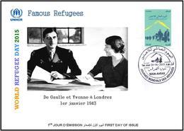 ARGHELIA 2015 - FDC - World Refugee Day Réfugiés Flüchtlinge De Gaulle Día Mundial Del Refugiados London Refugees - Refugees