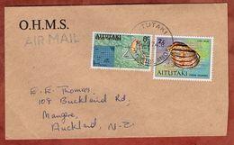 Luftpost, Karte Von Aitutaki U.a., Cook Islands Nach Auckland 1974 (71764) - Aitutaki