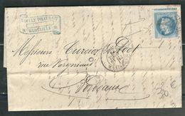 FRANCE 1869 N° 29 (variété Piquage à Cheval)  S/Lettre Entière  Obl.GC 2240 Marseille - 1863-1870 Napoleon III With Laurels
