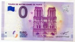 2018-1 BILLET TOURISTIQUE FRANCE 0 EURO SOUVENIR N°UEGV011560 TOURS DE NOTRE DAME DE PARIS - Essais Privés / Non-officiels