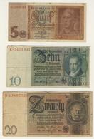 Lotto Di 5 Banconote Circolate (vedi Immagine) 4 Immagini - [ 3] 1918-1933 : Repubblica  Di Weimar
