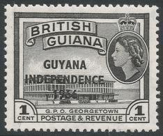 Guyana. 1966 Independence O/P. 1c MH. Upright Block CA W/M SG 385 - Guyana (1966-...)