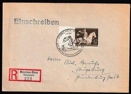 H 146) DR 1.8.1943 Mi# 854 SSt München-Riem Sonder- R-Zettel: Galopprennen Braune Band  (nach Augsburg) - Storia Postale