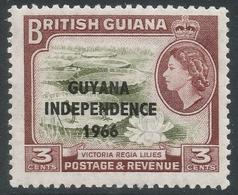 Guyana. 1966 Independence O/P. 3c MH. Upright Block CA W/M SG 386 - Guyana (1966-...)