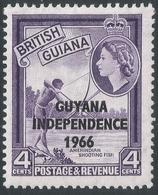Guyana. 1966 Independence O/P. 4c MH. Sideways Block CA W/M SG 400 - Guyana (1966-...)