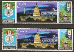 Khor Dakan 1966  Filex Wasington Together With Overprint J.F.Kennedy Arlington Cemetry  Fine Used - Khor Fakkan