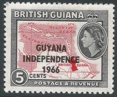 Guyana. 1966 Independence O/P. 5c MH. Upright Block CA W/M SG 388 - Guyana (1966-...)